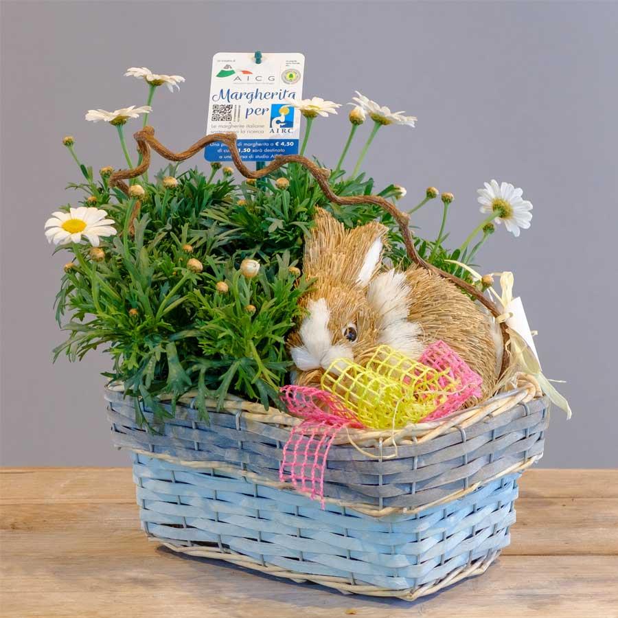 composizione pasquale con coniglietto